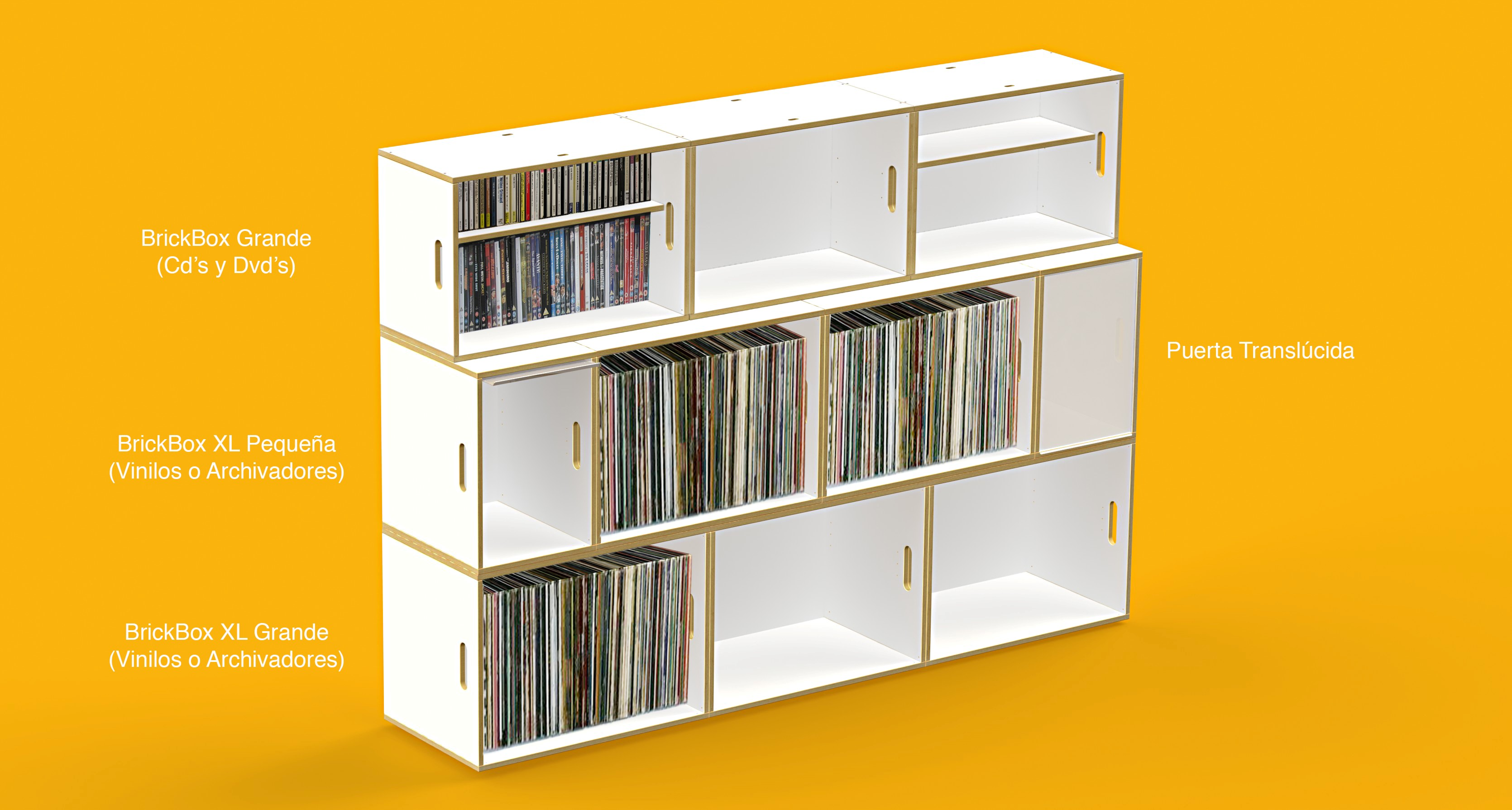 Xl boxes for vinyl records brickbox shelves modular - Estanterias para cds ...
