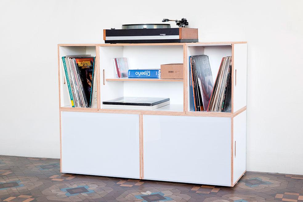 Cajas xl para discos de vinilo y archivadores brickbox for Muebles estanterias modulares