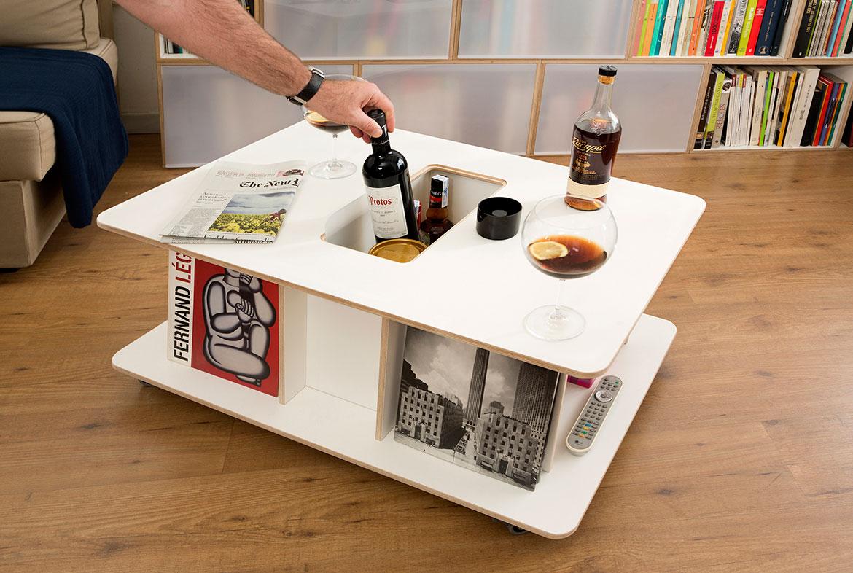 table basse avec casier à vin