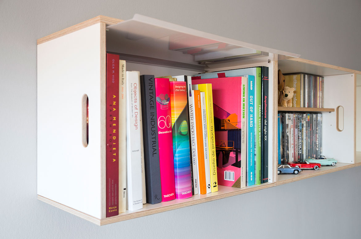 Modular wall hung bookcases