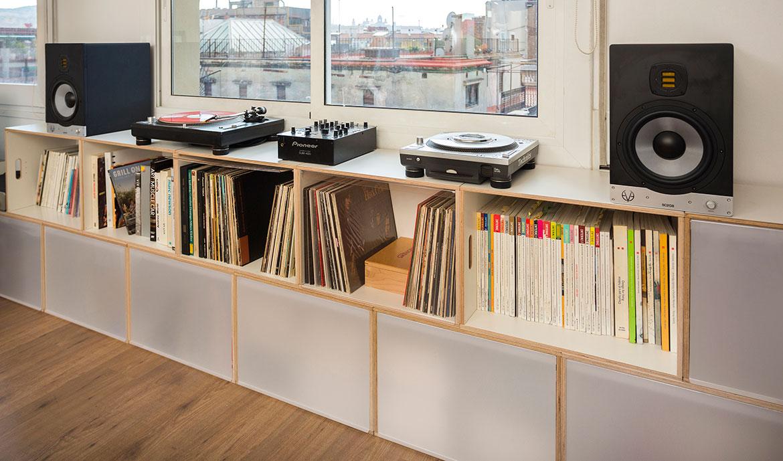 mueble bajo modular para discos vinilo
