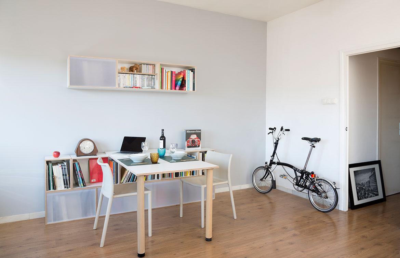 mueble modular bajo con mesa