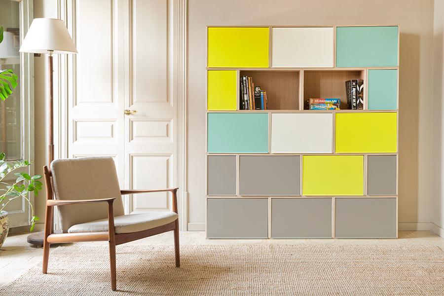 Meubles In Modulen BrickBox Oak BrickBox Oak Bücherregal Türen Multicolor