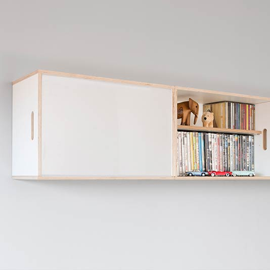 BrickBox modules become wall shelves.