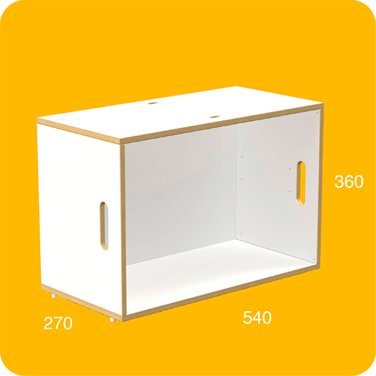 Modular box BrickBox in white with birch plywood for building modular bookcases and modular bookshelves.