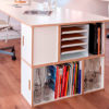 Bibliotheque modulable comme pied de table pour mobilier de bureau