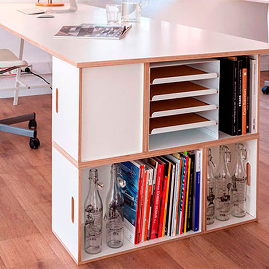 Modular shelf with table leg for office furniture