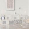Highlight der kleinen Box BrickBox. Hergestellt aus Birkenholz. Weiße Regale für Wohnzimmer.