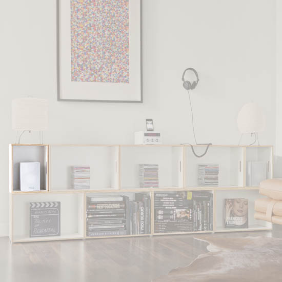 Highlighting the small BrickBox box inside a modular piece of furniture. Birch wood White shelving for living room.