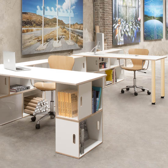 Modular furniture for office. Birch wood desks. White color. Modular bookcase as leg table.