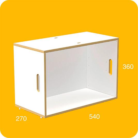 Módulo BrickBox Grande de color blanco y de contrachapado de madera de abedul para construir librerías y estanterías modulares