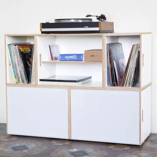 Modular furniture ideal for storing vinyl records. White color. Birch material. White doors
