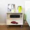 Bedside table made from BrickBox XL wooden box. With wooden shelf. White color.