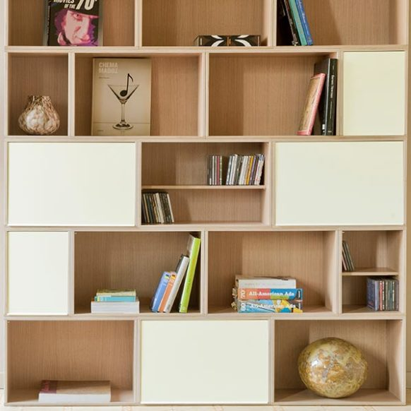 Oak bookcase with white aluminum doors. Books, CDs and magazines are stored perfectly with the help of shelves.