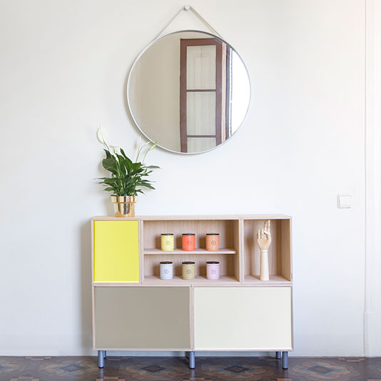 Modular BrickBox Oak cabinet with yellow, gray and white aluminum doors. With metal legs.