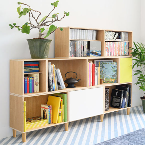Modular Oak shelf made by BrickBox Oak modules with beech legs and doors. To store books, CDS and movies.