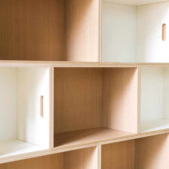 White bookcase and oak bookcase combined with each other.