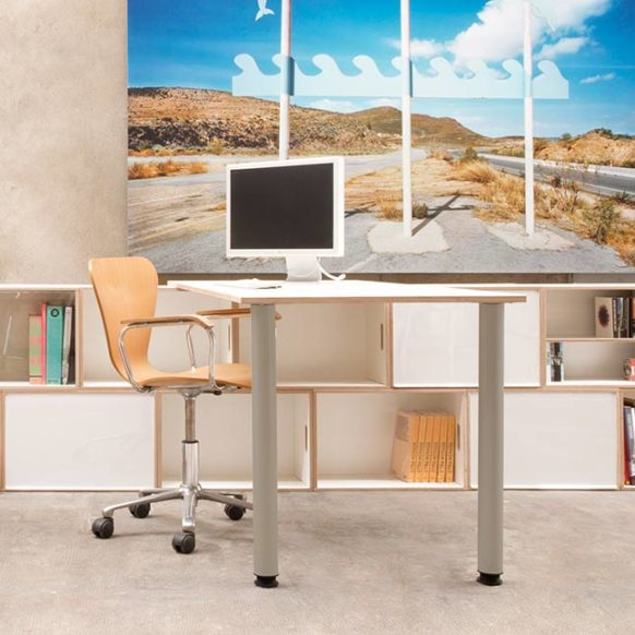 Office desk with white birch boards and metal legs