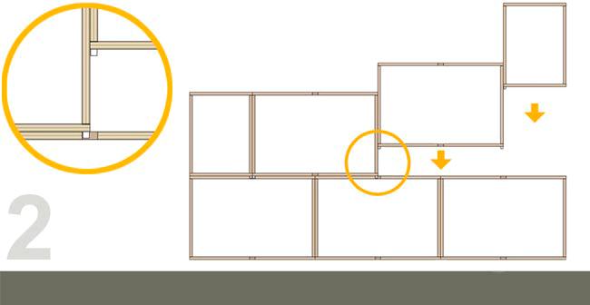 Montaje correcto de las estanterias BrickBox, los módulos nunca van directamente unos encima de los otros