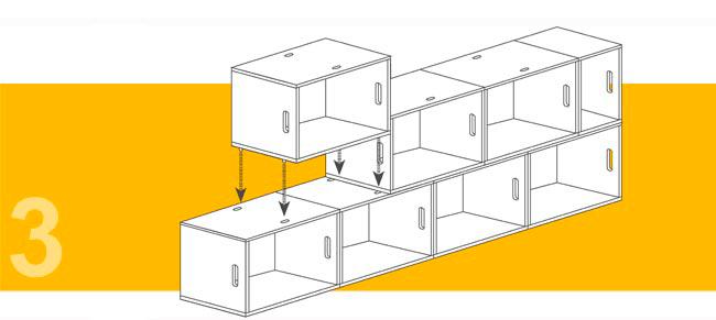 Forma de conexión entre módulos mediante tacos de nylon