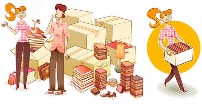 Dibujo mostrando la utilidad de las estanterías BrickBox, montaje rápido en 5 minutos