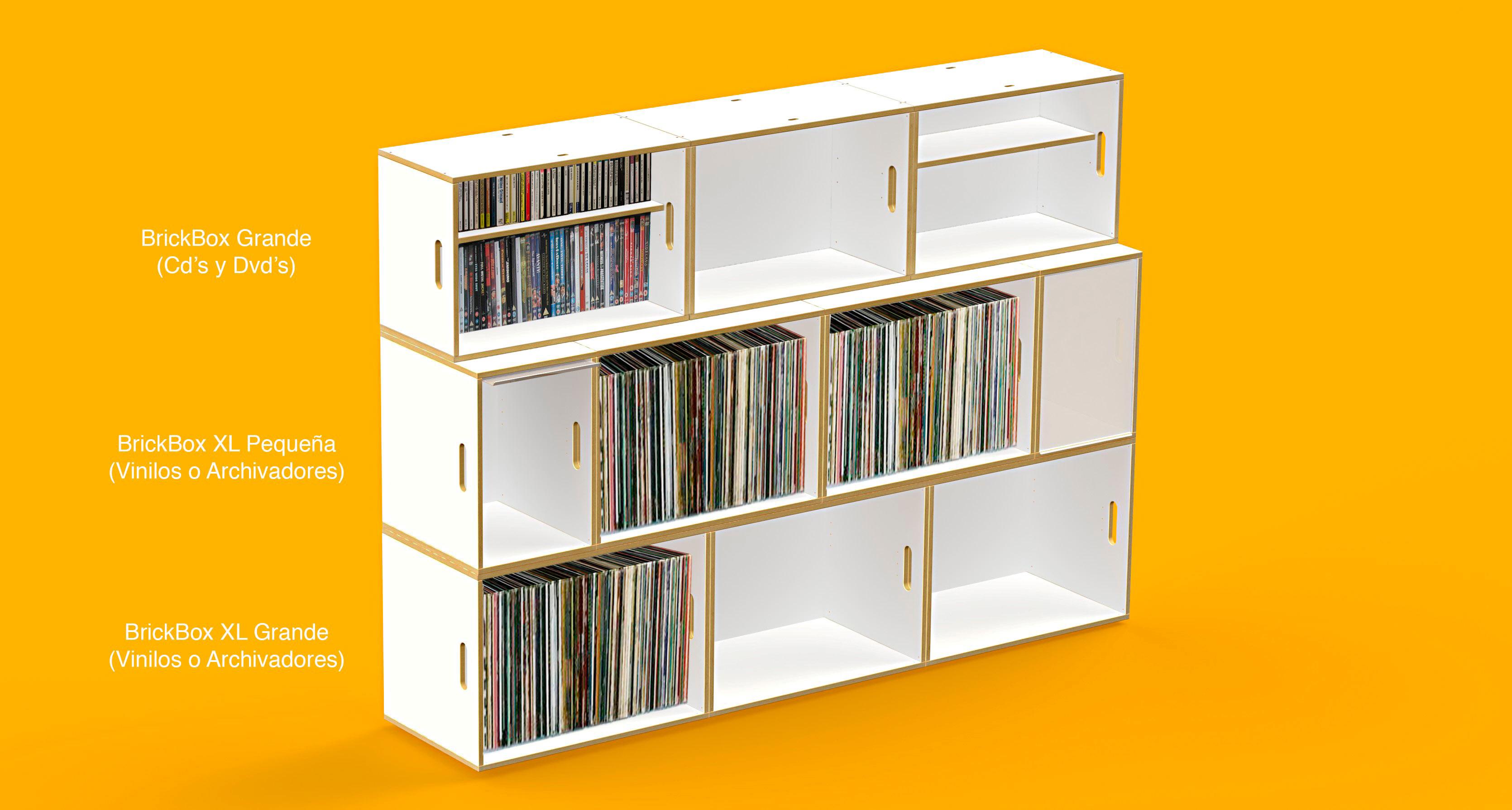 Estantería con combinación de módulos BrickBox XL para vinilos o archivadores y BrickBox estándar para Cds y DVDs.