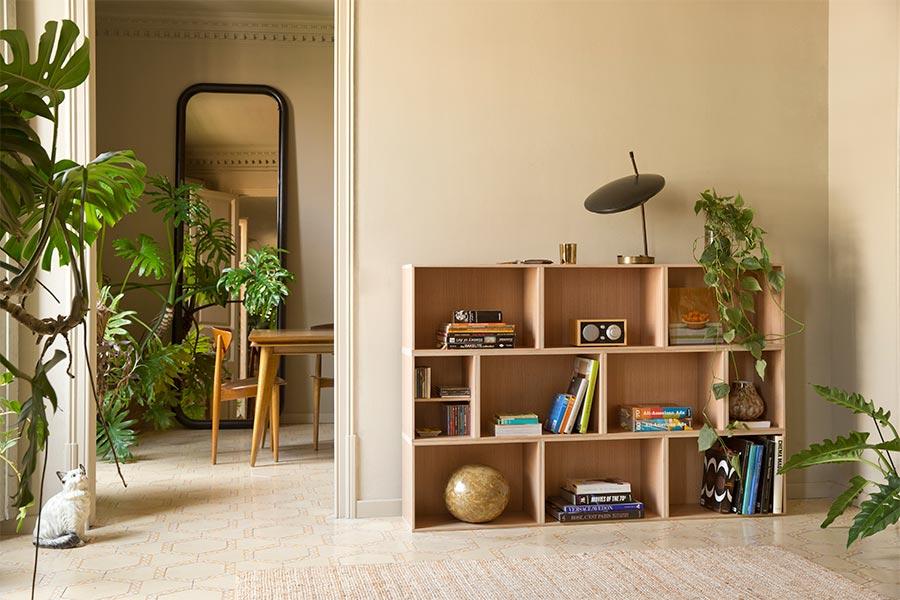 Mueble modular para salón de roble
