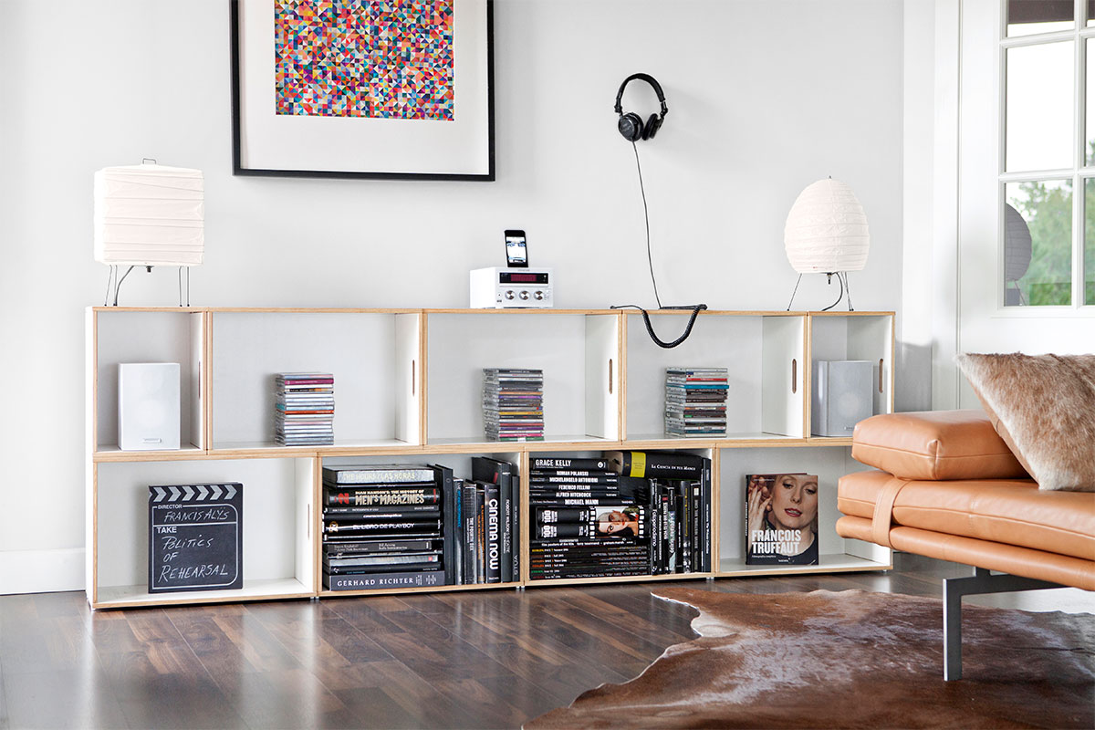 Mueble multimedia para guardar libros, discos y películas