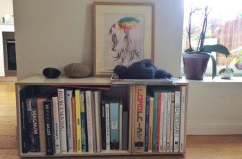 Dos cajas para almacenar libros convierten un pequeño rincón de la casa en un lugar inspirador