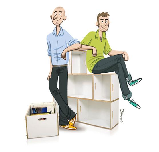 La estanteria modular BrickBox fue diseñada por Antxon Salvador
