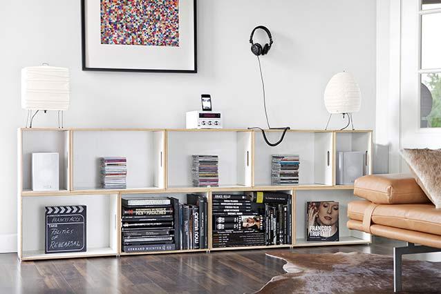 Modular wooden shelves in a living room